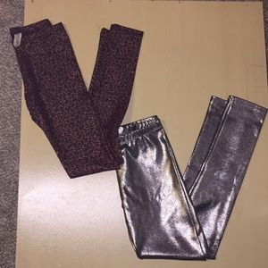 LEGGINGS BUNDLE LOT! Shiny pleather silver gold M